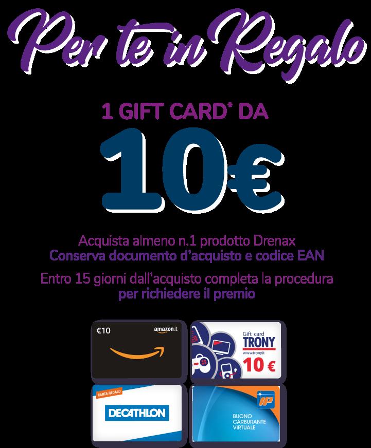 Tieniti in forma con drenax e ti fa un regalo una card di euro 10