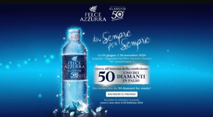 FELCE AZZURRA vinci 50 diamanti