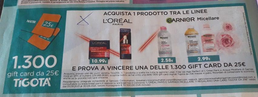 concorso Garnier Tigota 1500 gift card in palio